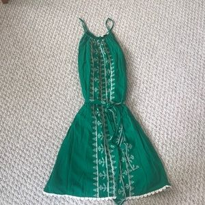 Miami Green and White Embroidered Dress